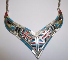 1920s Zuni Coral Opal Turquoise Necklace Sterling Multi Color Inlaid MOP Antique