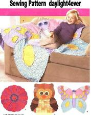 Fleece Throw Blanket Rag Quilt Butterfly Flower Sewing Pattern 2935 Girl Boy New