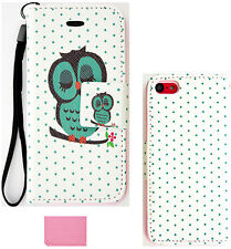 Owl on Polka Dots Wallet Purse Card Slot PU Leather Case Apple Iphone 5C