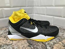 Nike Zoom Kobe VII Supreme Black Metallic Silver Tour Yellow SZ 9.5 488244-001