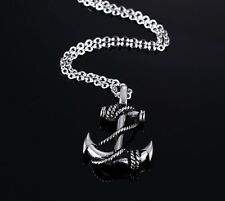 Men Boys Stainless Steel Gold and Silver Anchor Necklace Pendant