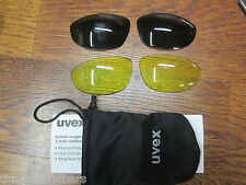 UVEX CYCLING SUN GLASSES YELLOW & GRAY FLASH LENSES