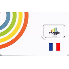 France, Spain, Switzerland + 9 countries Prepaid Toggle Sim Card £5.00 Loaded