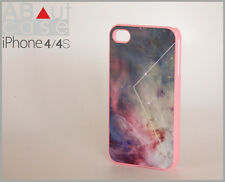 Best iPhone 4 4s CASE CUSTOM DESIGN Galaxy pink with geometric triangle line
