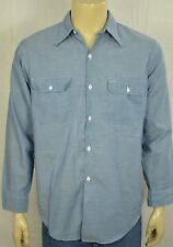 Vtg Big Mac Blue Chambray Selvedge L/S Work Wear Shirt Mens Sz Medium 65/35