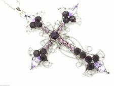 Purple Crystal Cross Women's Pendant & Necklace New