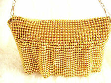 Gold bead Chainmail clutch purse bag evening handbag Victorian 1920's Prom Party