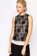 BNWT ��COAST�� Size 6 Black Louvre Sheer Top Blouse Cocktail, Party Smart New XS