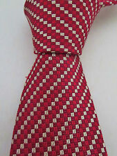 NWT VALENTINO Red Maroon Silver Mini Diamonds Silk Tie Italy $155