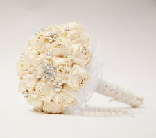 Bridal Bouquet With Satin Roses Brooches And Pearls Wedding Bride Decor