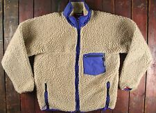 VTG PATAGONIA X DEEP PILE OATMEAL SHERPA FLEECE JACKET RETRO MADE IN USA LARGE