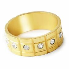 Shinning Womens Yellow Gold Filled Clear CZ Band Ring Size 8 Free Shipping