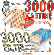 3000 CARTINE BRAVO REX CORTE REGULAR FINISSIME + 3000 FILTRI RIZLA SLIM 6mm