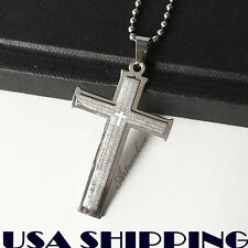 Men's  Cross Silver Stainless Steel Cross Pendant Necklace Chain gift J14