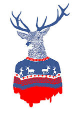 UNIQUE HIPSTER GIFT UGLY WINTER PULLOVER ART PRINT deer sweater 10x14 poster