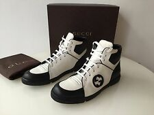 GUCCI Black and White men's High Top SNEAKERS shoes Size 11.5 US 12.5 NEW in Box