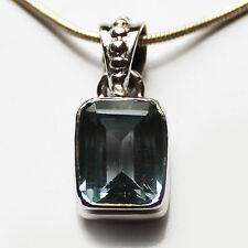 925 Sterling Silver Semi-Precious Natural Stone Blue Topaz Pendant
