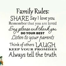 Family Rules Wall stickers Home Decal Removable Mural Deco Vinyl Au DIY