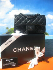 100% AUTHENTIC CHANEL 2016 MINI FLAP BAG PURSE BLACK LAMBSKIN RUTHENIUM  BNIB