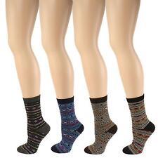 Ladies Girls 4 Pair Winter Nordic Crew Dress Trouser Casual Socks Dark Colors