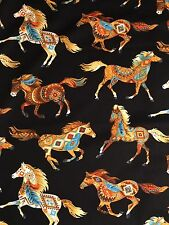 Fabric 100% Cotton Timeless Treasures Painted Horses C5036