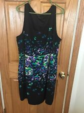 LANE BRYANT Women Sleeveless Sheath Black Galaxy Watercolor Floral Dress Size 24