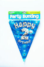 Happy 2nd Birthday Flag Bunting Age Boys Blue Kids Banner Partyware Decorations