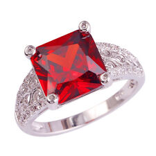 Princess Cut Ruby Spinel & White Topaz Jewelry AAA Gemstone Silver Ring Size 10