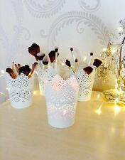 SET OF 4 Make Up Brush Holder Pots White/Candle Holders