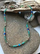 Surf Necklace - Turquoise/Green Beads -Free P & P-UK