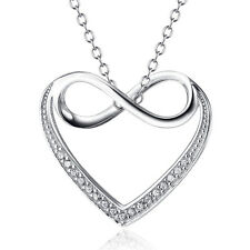 Infinity in Heart CZ Paved AAA+ Pendant Necklace in 925 Sterling Silver