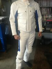 Kushitani White Leather Vintage Two-Piece Riding Suit