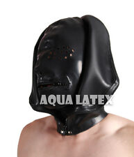 Double Layer Unisex Rubber Latex Mask Hood with Perforate Eyes and Zip Mouth