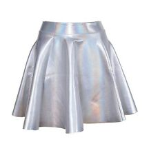 Holographic Silver Metallic Skater Circle Skirt Size 6-8 (small 10) ASOS TOPSHOP