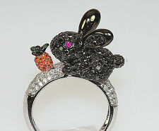 18k WHITE GOLD BLACK WHITE DIAMOND RUBY SAPPHIRE GARNET RABBIT BABY BUNNY RING