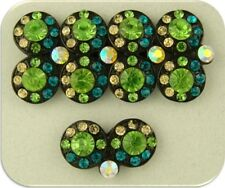 2 Hole Beads Double Wheels Blue Zircon Peridot Swarovski Crystal Elements QTY 5