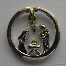 Christmas Holy NATIVITY Disk Window Plate ~ Floating Charm for Living Locket