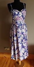VINTAGE LAURA ASHLEY 70's TEA DRESS FLORAL ROCKABILLY SWING PROM Size 10-12