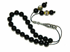 0129 - Agate & Sterling Silver Loose String Greek Komboloi Prayer Beads Boxed