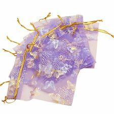 100pcs Butterfly Drawstring Organza Wedding Gift Jewellery Candy Pouch Bags T1