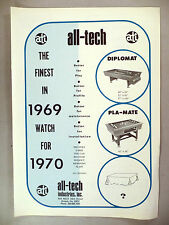 All-Tech Industries Pool Table PRINT AD - 1969 ~ Diplomat, Pla-Mate, billiards