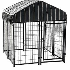 Large Outdoor Dog Kennel Pet Backyard Shelter House Steel Crate Cage Cover Shade