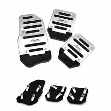 Aluminium Alloy Brake Cover Small Car Non Slip Pedal Foot Treadle Silver 3 Pcs