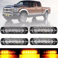 4x 6 LED 18W Amber Car Trailer Emergency Hazard Flashing Strobe Light Bar 12-24v
