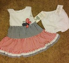 """New with tag baby girl's  GINGHAM """"BUTTERFLY"""" 2 pc DRESS-size:18 M"""