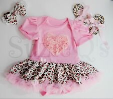 Baby Girls 3-6mo pink onesie w/ leopard print tutu w/headband and shoes 4pc set