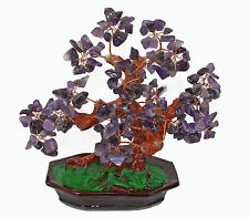 Chinese Feng Shui Bonsai Amethyst Quartz Purple Crystal Gem Stone Money Tree 8""