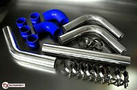 "2.25"" 57mm OD Intercooler Piping + Clamps Silicone Universal Pipe Kit - Blue"