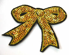 GOLD BOW SEQUIN SPARKLY  Embroidered Iron Sew On Cloth Patch Badge  APPLIQUE