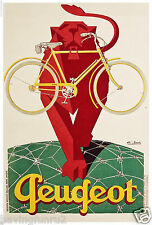 Vintage Peugeot Bicycle Poster 11 x 17  Giclee print